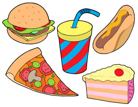 Food collection on white background - vector illustration.