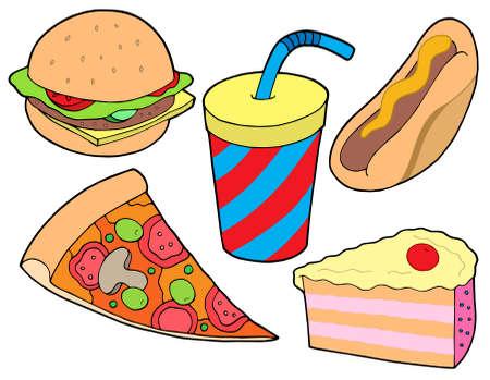 Food collection sur fond blanc - illustration vectorielle.