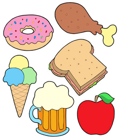 Food collection 2 on white background - vector illustration. Vector