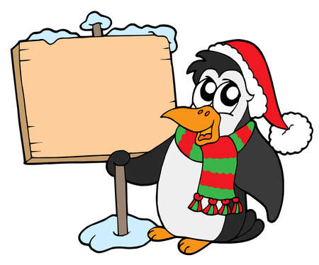Christmas penguin with sign - vector illustration.