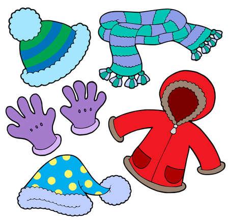 ropa de invierno: Colecci�n de ropa de invierno - ilustraci�n vectorial.