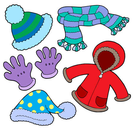 wintry: Winter clothes collection - vector illustration.
