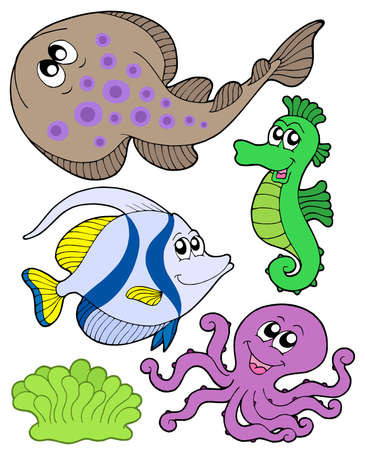 Cute marine animals collection 3 - vector illustration. Stock Vector - 3615791