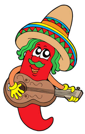 spicy chilli: Mexican chilli guitar player - vector illustration.
