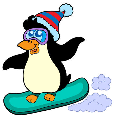 snowboard: Snowboarding penguin on white  - vector illustration.