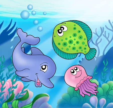 Cute zeedieren - kleur illustratie.