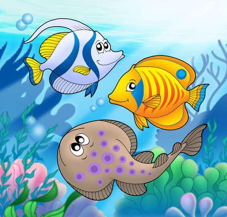 Cute marine animals 2 - color illustration. Reklamní fotografie