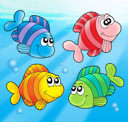 colorful fish: Four cute fishes - color illustration.