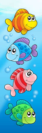 Four various cute fishes - color illustration. Stock Photo