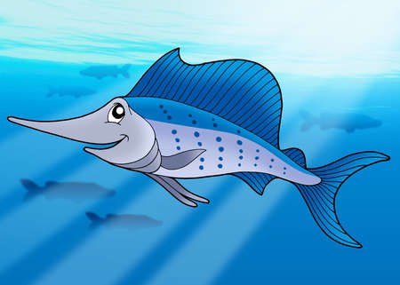 sailfish: Sailfish in sea - color illustration. Stock Photo