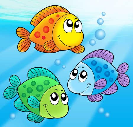 Three cute fishes - color illustration. Stock Illustration - 3642913