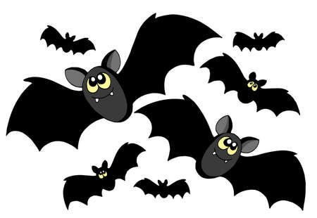 at bat: Bats silhouettes on white background - vector illustration.