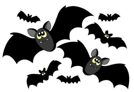 Vleermuizen silhouetten op witte achtergrond - vector illustratie.