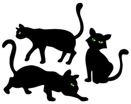 Silhouetten auf weißem Hintergrund - Vektor-Illustration Katzen. Standard-Bild - 3667636