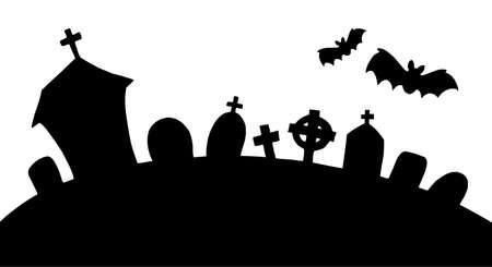 gravestones: Cemetery silhouette on white background - vector illustration. Illustration