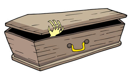Coffin with waving hand - vector illustration.