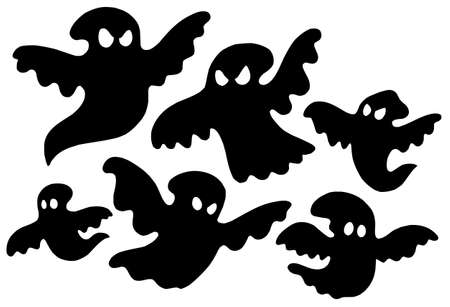 vector artwork: Scary ghost silhouettes - vector illustration.