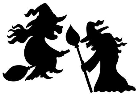 broomstick: Witch silhouettes on white background - vector illustration.