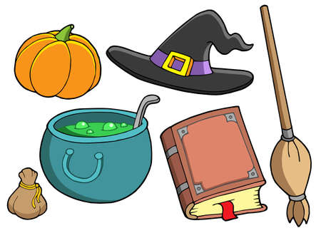 flying hat: Witch tools on white background - vector illustration.