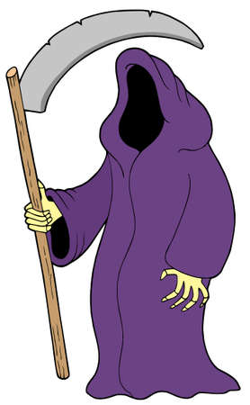 exitus: Grim reaper on white background - vector illustration.