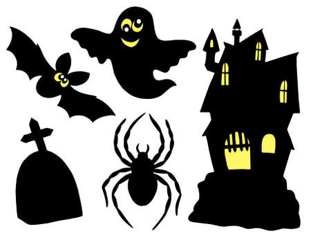 turrets: Halloween silhouettes collection - vector illustration.