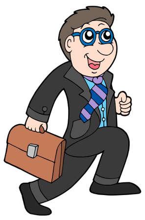 ternos: Running businessman on white background - vector illustration.