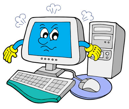 Angry computer on white background - vector illustration. Vector