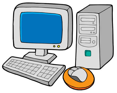 Computer 2 on white background - vector illustration. Stock Vector - 3694813