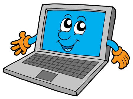 Cute laptop on white background - vector illustration.