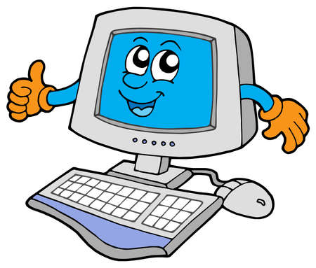 com: Happy computer on white background - vector illustration.