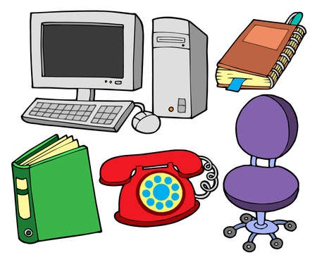 com: Office collection on white backgound - vector illustration. Illustration