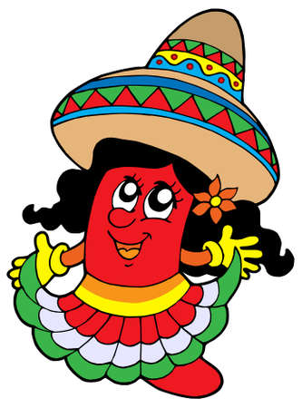 Cute Mexican chilli girl - vector illustration.