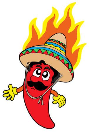 pimenton: Caliente chile mexicano - ilustraci�n vectorial.