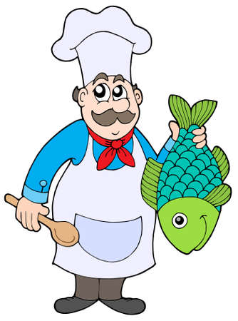 Chef holding fish - vector illustration.