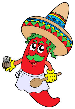 pinafore: Mexican chilli chef - vector illustration. Illustration