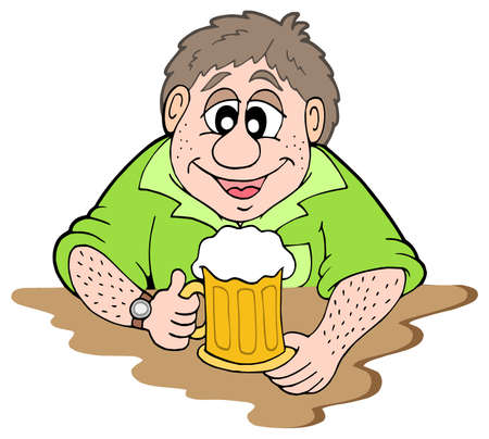 weary: Beer drinker on white background - vector illustration.
