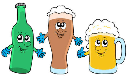Cute beer collection - vector illustration. Vector