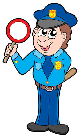 work force: Cute policeman with stop sign - vector illustration.