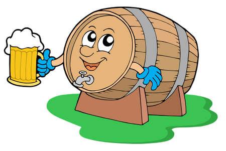 Smiling wooden keg holding beer - vector illustration. Stock Vector - 3719890