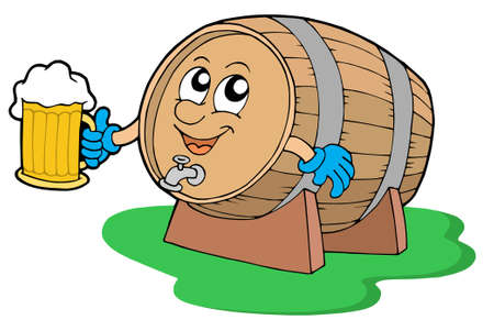 Smiling wooden keg holding beer - vector illustration. Vector