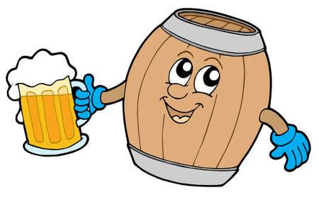 Cute fusto in legno azienda birra - illustrazione vettoriale.