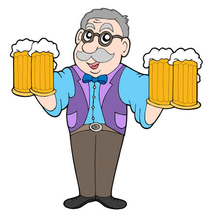 beers: Innkeeper with beers - vector illustration. Illustration