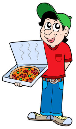 Pizza delivery boy - vector illustration. Vector