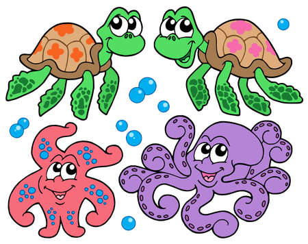 Various cute sea animals collection - vector illustration.