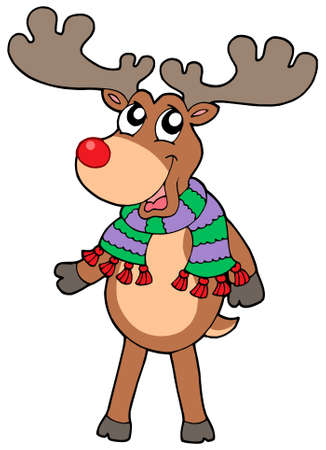 santa moose: Cute standing Christmas elk - vector illustration.