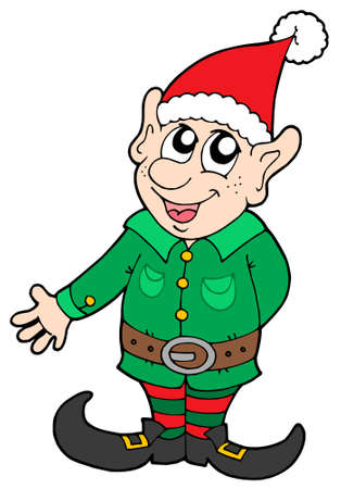 green elf: Cute Christmas elf - vector illustration. Illustration