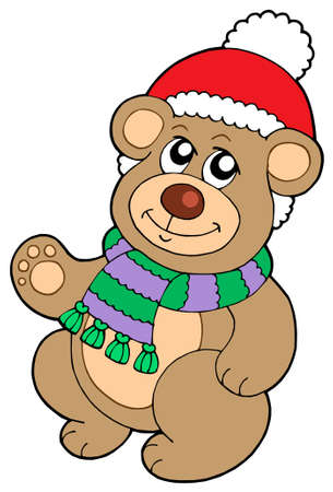 Christmas teddy bear - vector illustration. Vector