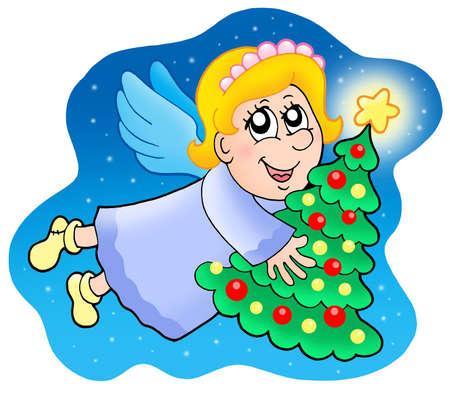 Angel holding Christmas tree Stock Photo - 3763154