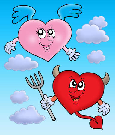 angelical: Devil and angel heart on sky