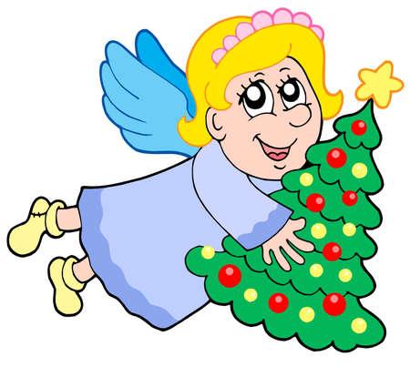 Cute angel holding Christmas tree - vector illustration. Stock Vector - 3763165